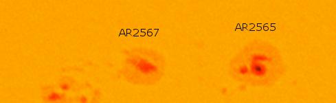 Regiones activas del Sol AR2565 y AR2567 (Click para Agrandar)